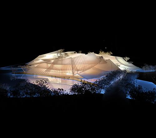 Čína postaví divadlo Yiwu Grand Theater kryté velkými skleněnými plachtami
