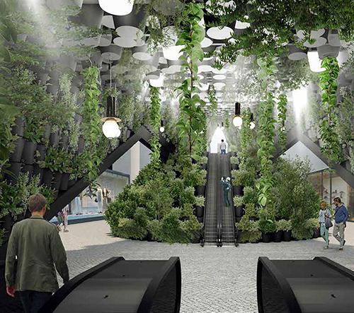 Chybík + Krištof navrhli nový vestibul metra Křižíkova zarostlý zelení