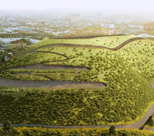 Angelo Renna navrhl pro Turín umělou horu se speciální půdou absorbující CO2, která očistí tamní vzduch