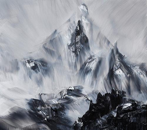 Conrad Jon Godly maluje majestátní obrazy hor s viditelnými tahy štětce