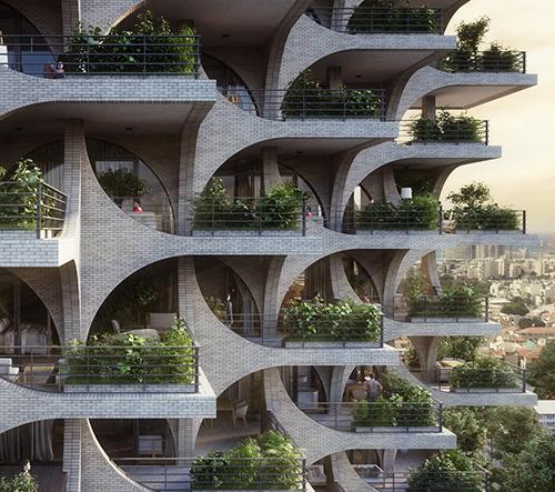 Studio Penda navrhlo v Tel Avivu modulární kaskádové bydlení