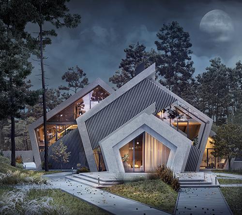 Pentahouse je betonová vila ve tvaru pětiúhelníku, která koresponduje s okolní krajinou