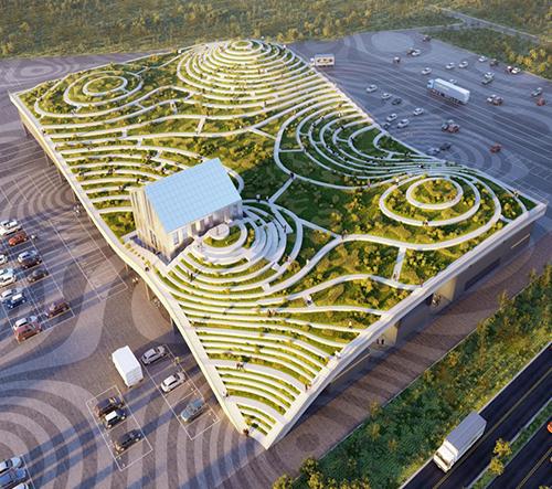 MVRDV navrhlo pro město Tchaj-nan tržnici s vlnitou zelenou střechou