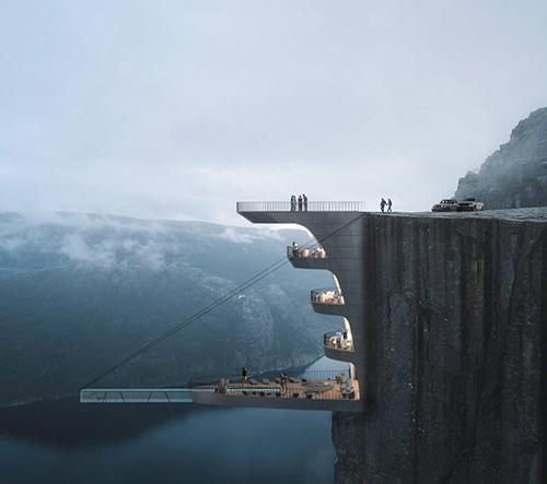 Studio Hayri Atak navrhlo konzolový skleněný bazén nad norským fjordem