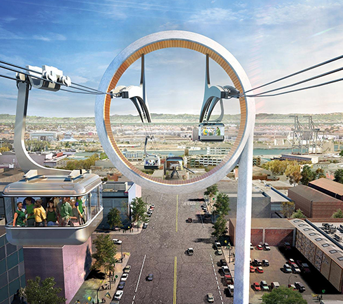 Oakland postaví ekologickou městskou lanovku podle návrhu architektů z BIG