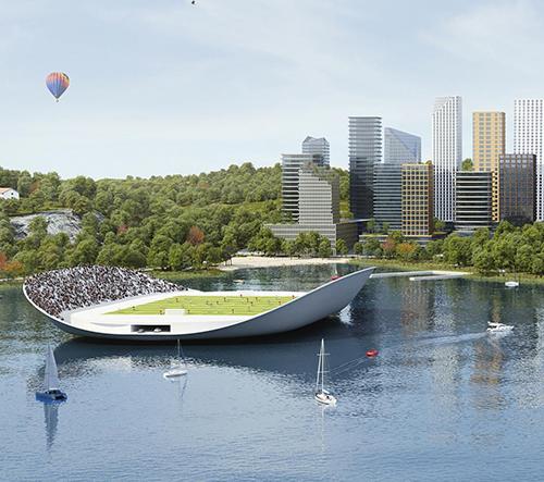 Stockholm chce rozšířit město o 120 000 bytů novými domy a plovoucím sportovištěm