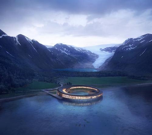 Studio Snøhetta navrhlo kruhový udržitelný hotel, který vyprodukuje více energie než sám spotřebuje