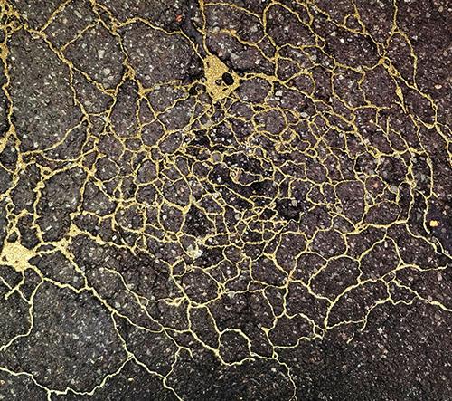 Umělkyně Rachel Sussman opravuje silnice zlatem
