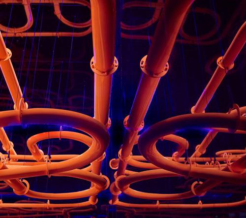 The Path je hravá kinetická instalace se svítícími koulemi