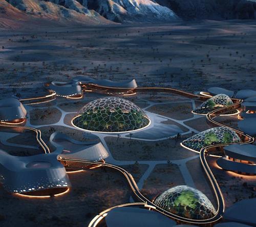 V Mohavské poušti vyroste síť biodómů jako zkouška osídlení Marsu