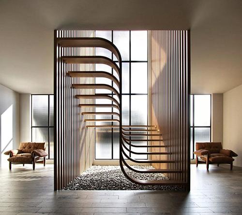 Eisa Ghasemian navrhla minimalistické schodiště inspirované vláknem DNA