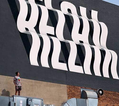 Ben Johnston vytváří hravé muraly inspirované optickou iluzí