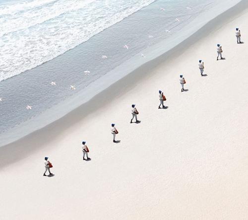 Felipe Bedoya zobrazuje prodejce na pláži v Cartagene