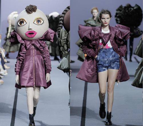 Viktor & Rolf předvedli na velkých panenkách Action Dolls hravou zimní kolekci