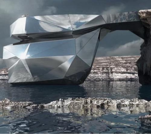 Na Maltě by mohl v moři vyrůst hotel s tvarem zříceného skalního masivu