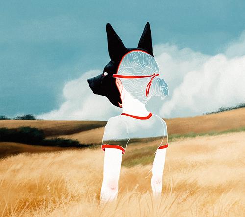 Jenna Barton kombinuje akvarel a digitální zpracování a vytváří záhadné antropomorfní scény