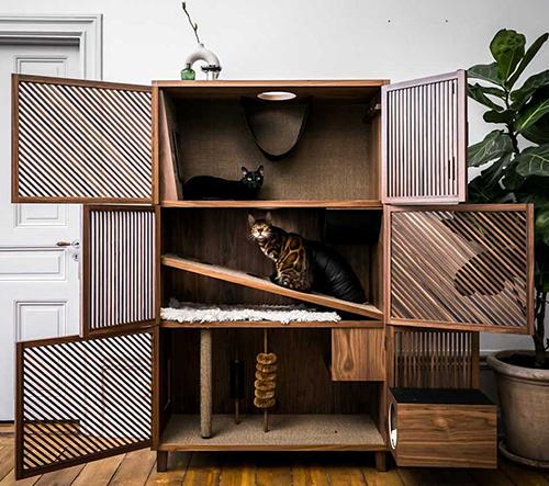 Firma 24Storage nabízí dřevěné designové bydlení pro kočky ve tvaru skříně