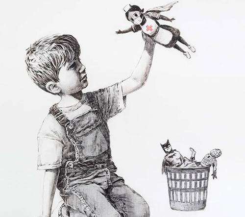 Banksy daroval anglické nemocnici svou kresbu, na které vzdává hold zdravotníkům