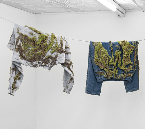 Bea Fremderman nechává vyprané prádlo zarůst zelení jako živé sochy