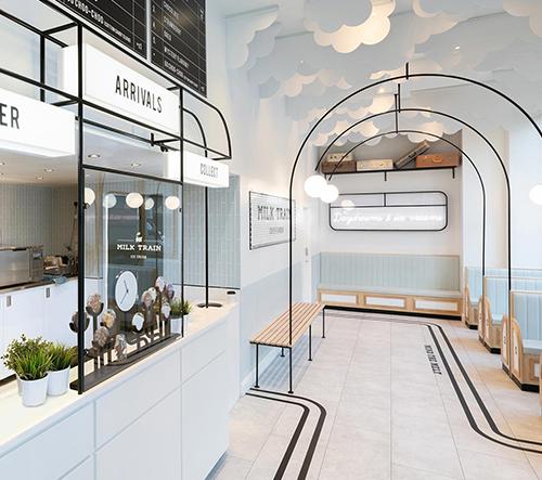 Londýnská zmrzlinárna Milk Train láká na snový interiér ve stylu art deco