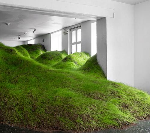 Olafur Eliasson naplnil celý prostor galerie zelenými loukami
