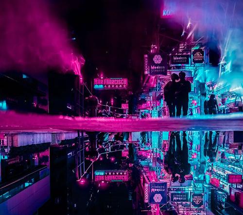 Xavier Portela fotí neonové tajuplné zrcadlící momentky